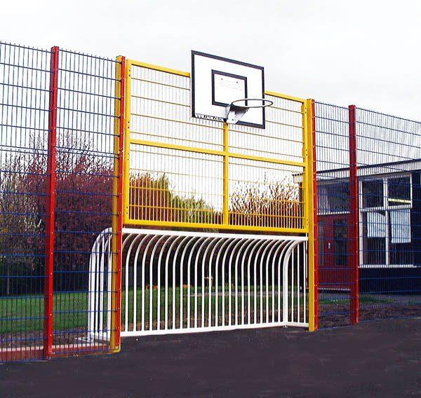 Simple recessed railings make perfect football goal